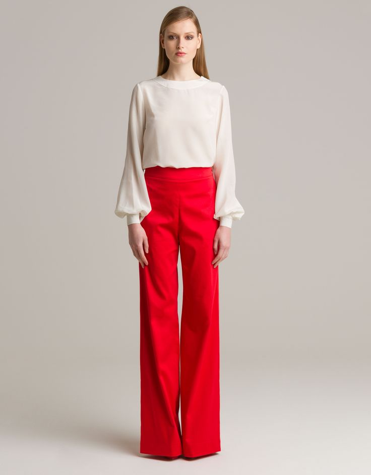 White blouse andred flared pants by Sara Mezzanotti for Maison Academia http://shop.maisonacademia.com/collections/spring-summer-2013/products/464-top