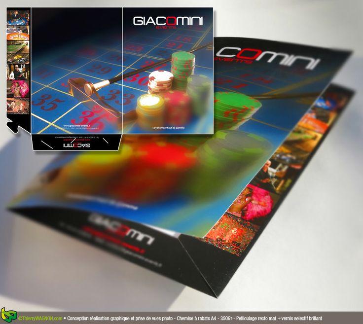 Conception, réalisation graphique et prises de vues photo - Chemise à rabat A4 - 350 Gr pelliculage recto mat + vernis selectif brillant