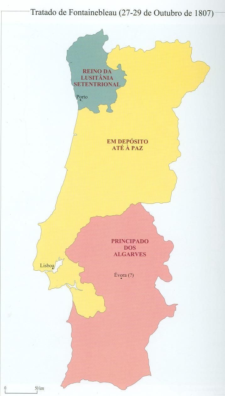 Partition of Portugal as proposed by Napoleon and Charles IV of Spain