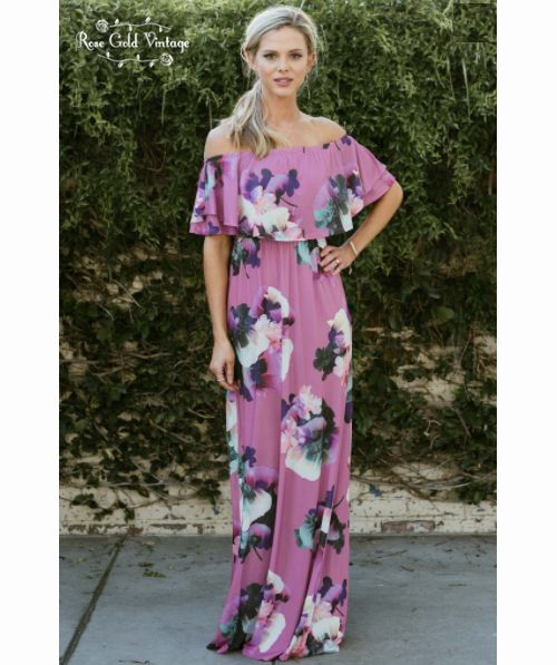 349c2071414a Off Shoulder Floral Maxi Dress - Purple