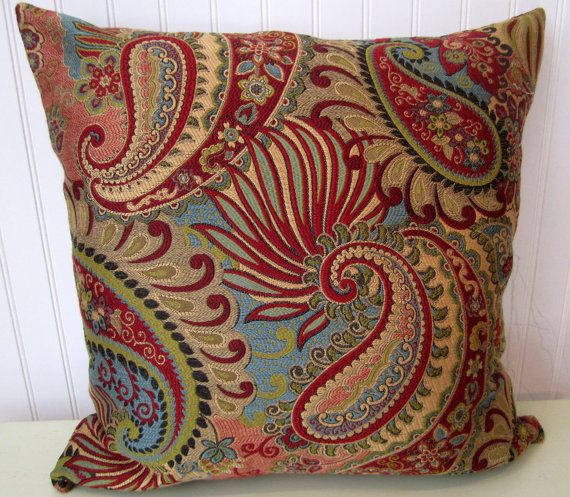 Red, Turquoise Decorative Pillow--18x18 or 20x20 or 22x22 Throw Pillow-- Paisley Flowers, Gold