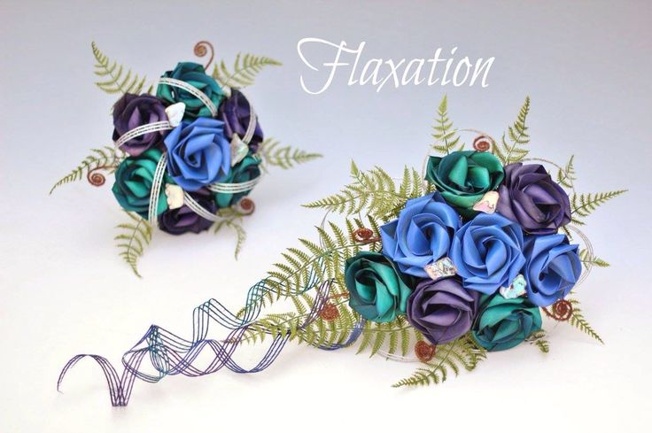 Vibrant paua bouquets with natural fern and koru. www.flaxation.co.nz