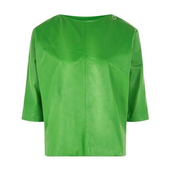 Batwing Leather Top by Boutique (3.180 ARS) ❤ liked on Polyvore featuring tops, leather tops, batwing tops, green top and topshop tops