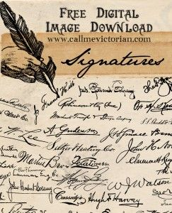 This free collection of old fashioned script handwritten signatures can be used in your creative work. Use as a background or add as a decorative embellishment to digital designs.   You can freely download a high resolution transparent PNG image file that contains the autographs of many real people from 1905.