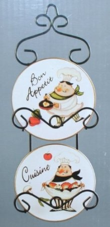 Fat Italian Chef Plates and Wall Hanger: Home & Kitchen