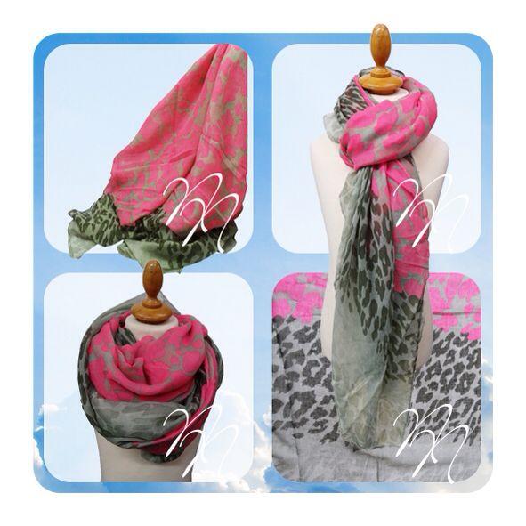 Sjaal roze met grijs. In luipaard print. Op www.nocanails.nl