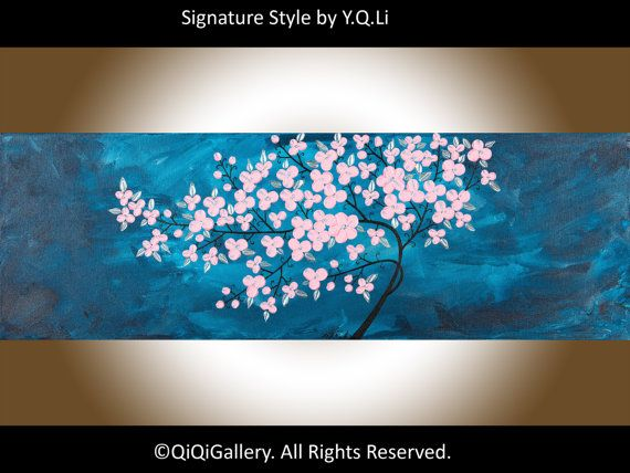 Art painting Original oil Abstract pink flower tree by QiQiGallery
