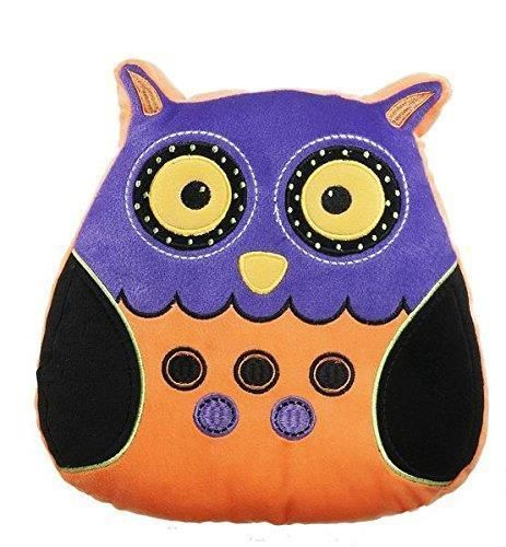 Ganz Orange Purple Halloween Plush Owl Shaped Pillow