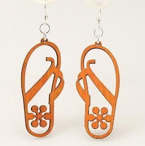 Beach Sandals with Flower Laser Cut Wood by GreenTreeJewelry