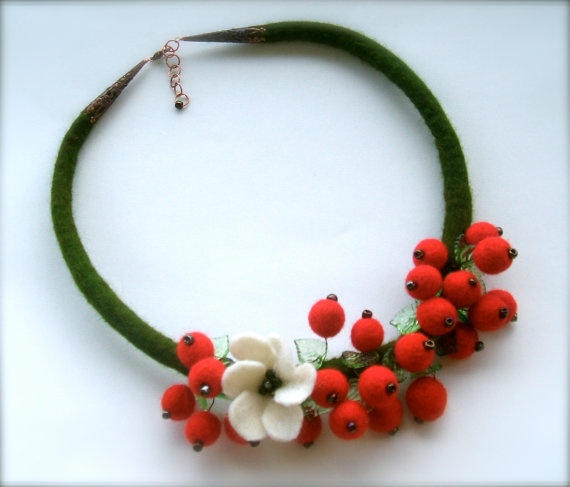 Felted necklace  Red berries by jurooma on Etsy, $34.00