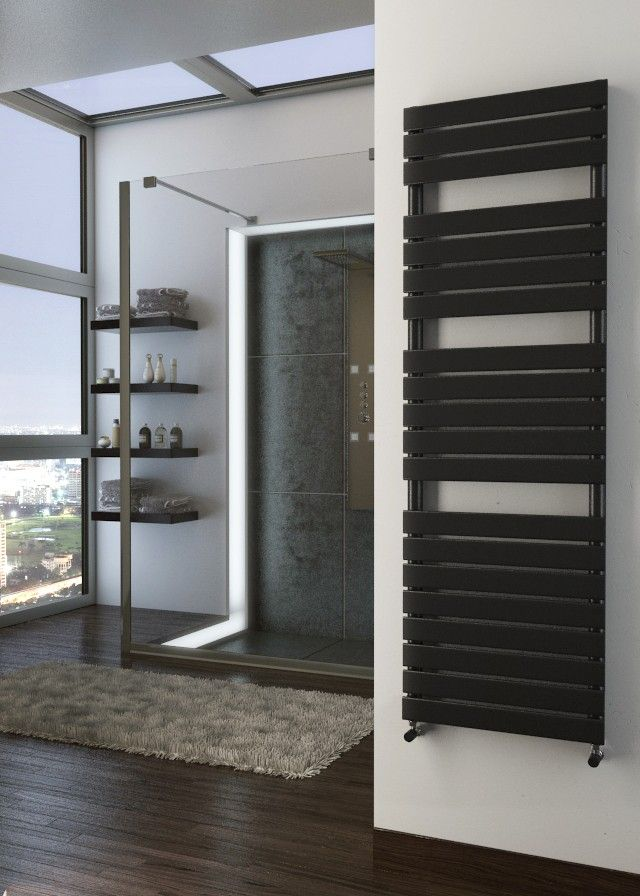 ONYX TYPHON BLACK DESIGNER HEATED TOWEL RAILS