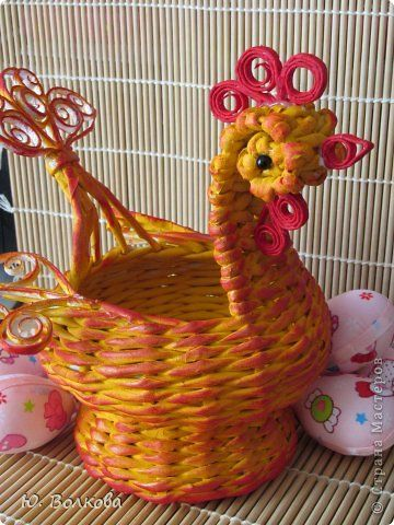 Поделка изделие Пасха Плетение Корзинка для яиц и курочки-несушки Бумага фото 6