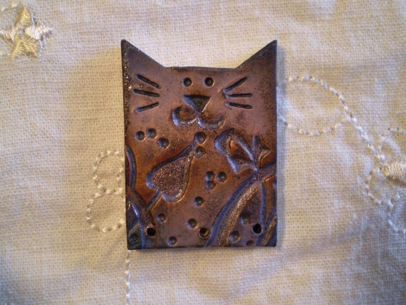 Raku Bead Cat Bead Handmade Ceramic Jewelry by spinningstarstudio, $6.00