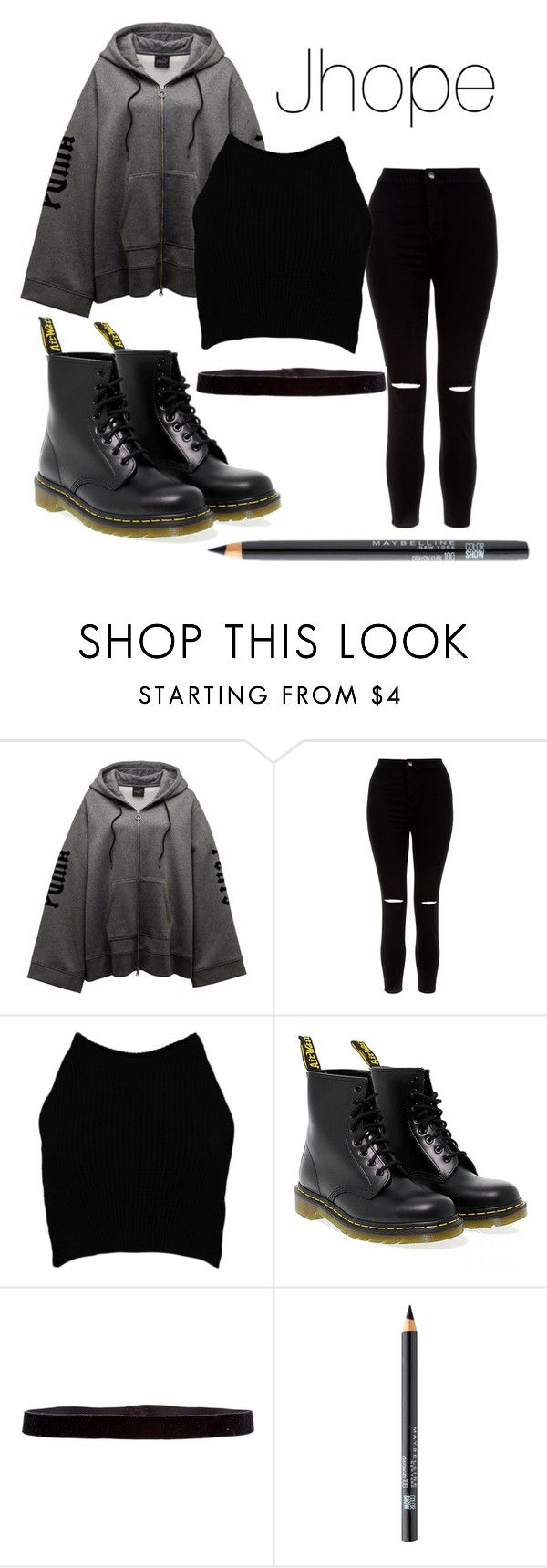 """Jhope I need u mv inspired"" by btsreactions ❤ liked on Polyvore featuring New Look, Boohoo, Dr. Martens, Steve Madden and Maybelline"