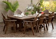 Poly Lumber Garden Classic Patio Table Collection-: Poly Lumber patio furniture is the finest quality recycled plastic patio furniture you can buy. Made by Amish furniture craftsmen, Poly Lumber will never rot, rust, warp, or need painting. Eco-friendly because it is made from recycled milk jugs, Poly Lumber is assembled using mortise and tenon joinery just like fine furniture.