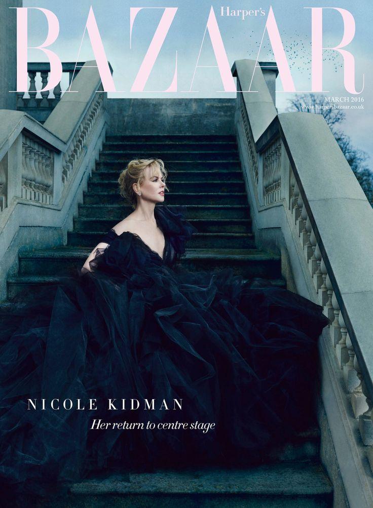 Nicole Kidman by Norman Jean Roy for Harper's Bazaar UK March 2016 cover - Marchesa gown