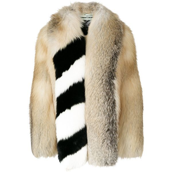 Off-White striped panel jacket ($8,895) ❤ liked on Polyvore featuring outerwear, jackets, shawl collar jacket, stripe jacket, panel jacket, off white jacket and urban jackets