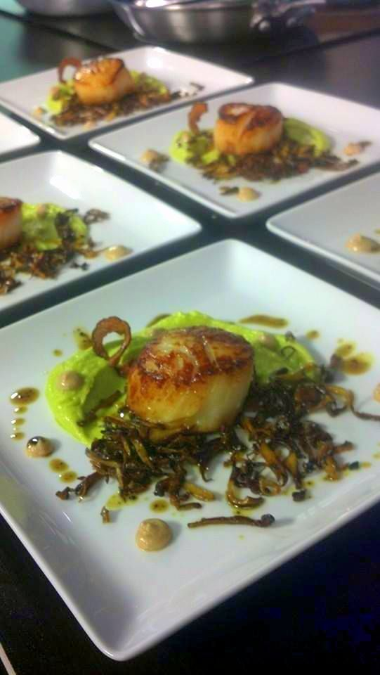 Seared scallop with lobster mushroom, fava bean puree ...