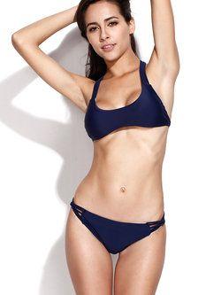 Navy Blue Cross Padded Plain Halter Bikini #Swimwear