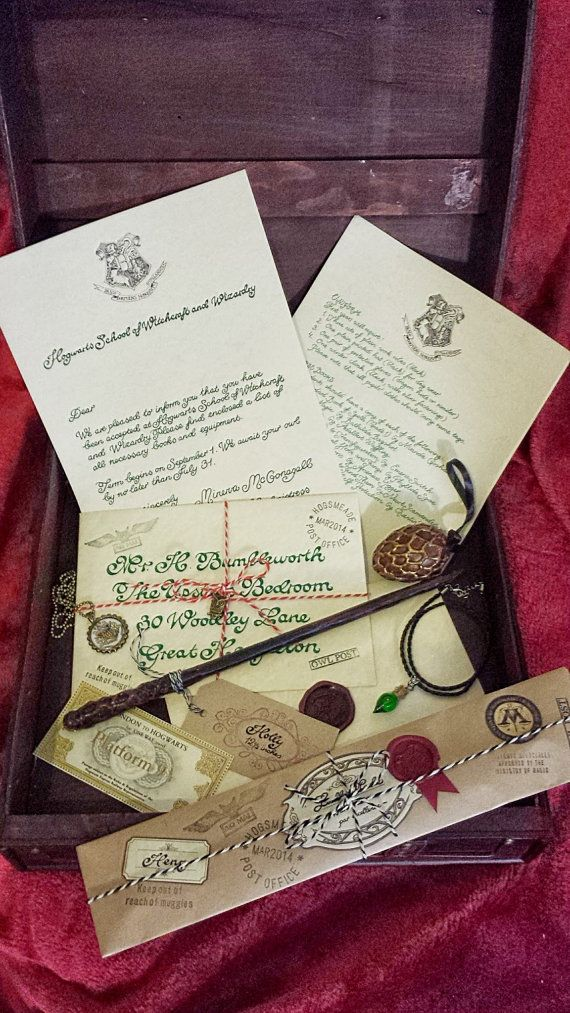 Complete Wizard Kit, Harry Potter inspired, Magic Wand, Hogwarts Letter, House Medallion, Potion Bottle, Dragon Egg on Etsy, $56.00. For Tai's 11th B-day. Oh the excitement!