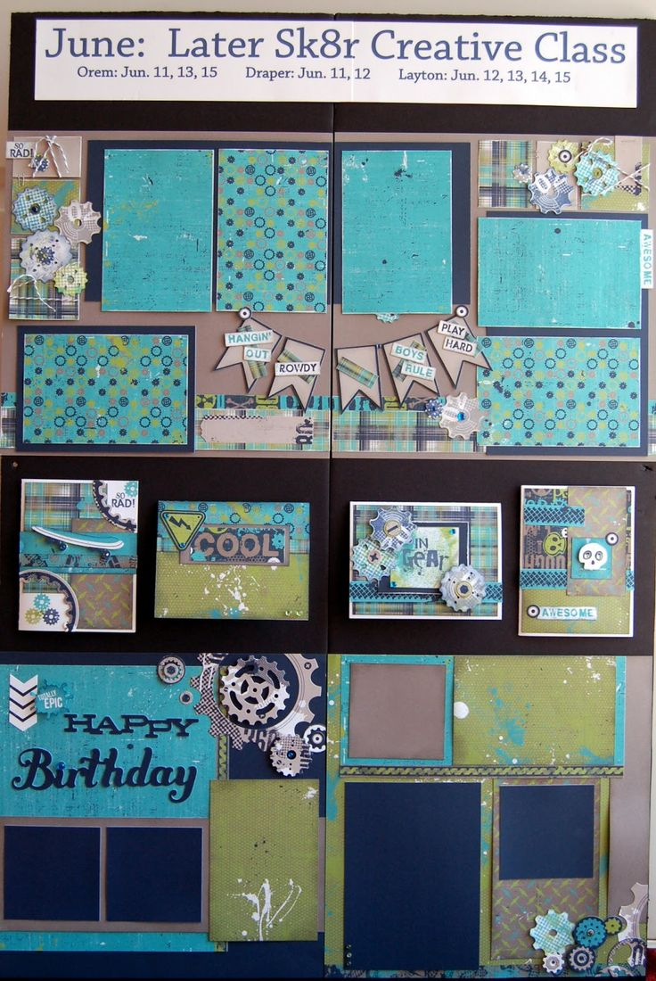 6 photo layouts and cards by Diana Veenendaal using CTMH Later Sk8r paper