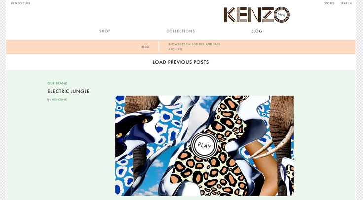 KENZO website and blog