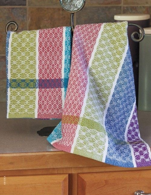 These gorgeous towels are a twill sampler all on their own, and the bright, springy colors make them a real showstopper. Available in Handwoven's new Spring Weaving Pattern Pack! #weaving #springweaving