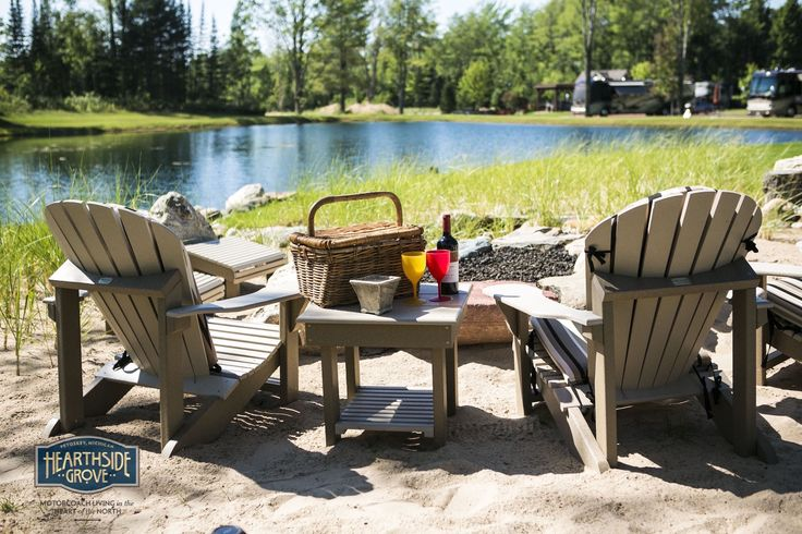 Hearthside Grove Luxury Motorcoach Resort Lot 135 - #exterior #adirondack #chairs #sand #pond #relaxing