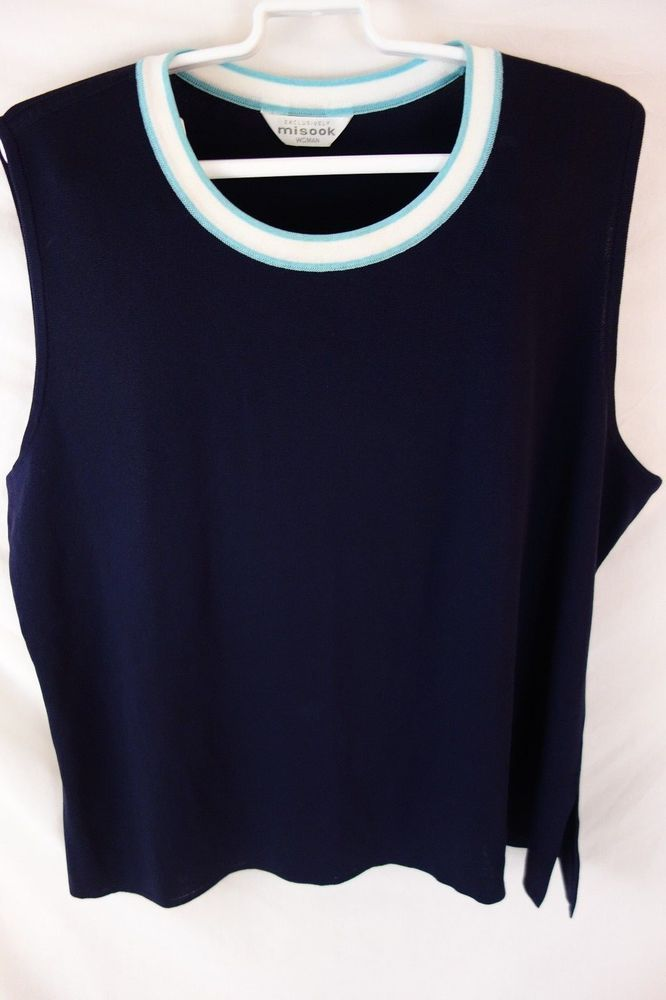 Exclusively Misook Plus Size 2X Navy Sleeveless Acrylic Knit Shell Top #ExclusivelyMisook #TankCami #Career