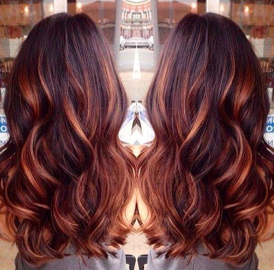 Dark Auburn Hair Color with Caramel Highlights