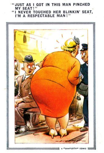 Bamforth-comic-p-c-unused-fat-lady-bus-conductor-large-size-no-5series2-V-GOOD