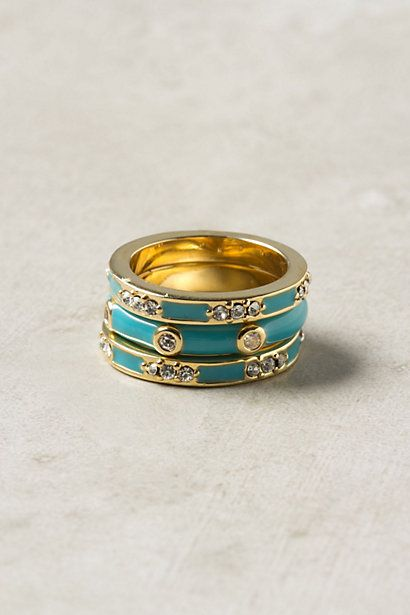 enamel trio rings from anthropologie: Anthropologie Enamels, Enamels Trio, Anthropologie Beautiful, Rings Trio, Enamels Rings, Trio Rings, Anthropologie Com, Turquoise Rings, Jewelry Rings
