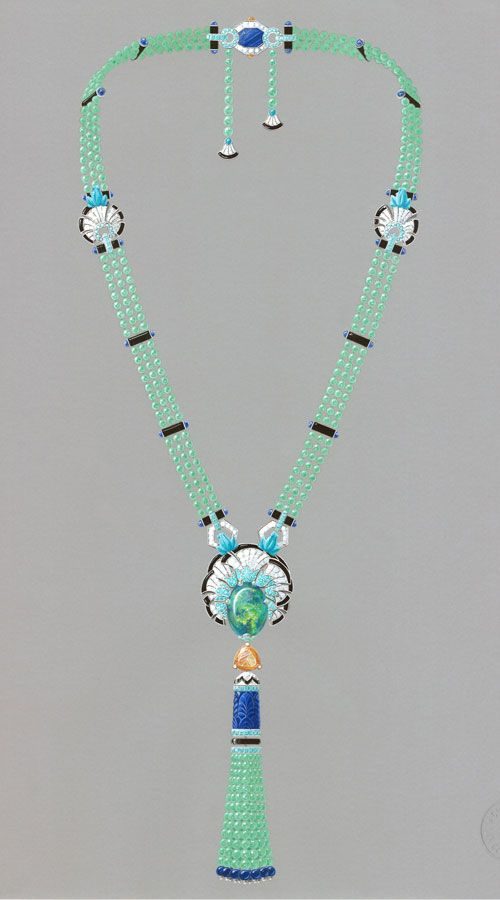 Van Cleef & Arpels. Palais de la chance High Jewellery collection. Lucky legends, Everlasting Light necklace, white gold, chrysoprase, Mandarin garnets, lapis lazuli, sapphires, diamonds, tourmalines, onyx, turquoise, emeralds and one 23.64-carat cabochon-cut black opal.