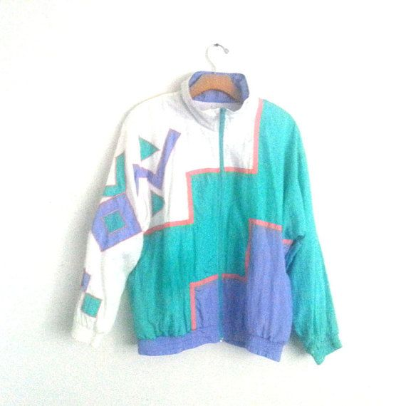 Rad Vintage 80s 90s Track Suit Asymmetrical Color by happy2find