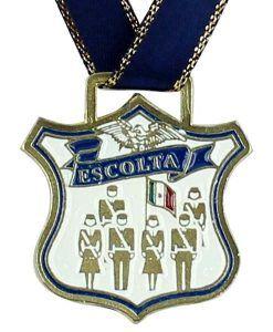 Medalla de Escolta mixta para alumnos(as) de educación básica, con la bandera de México