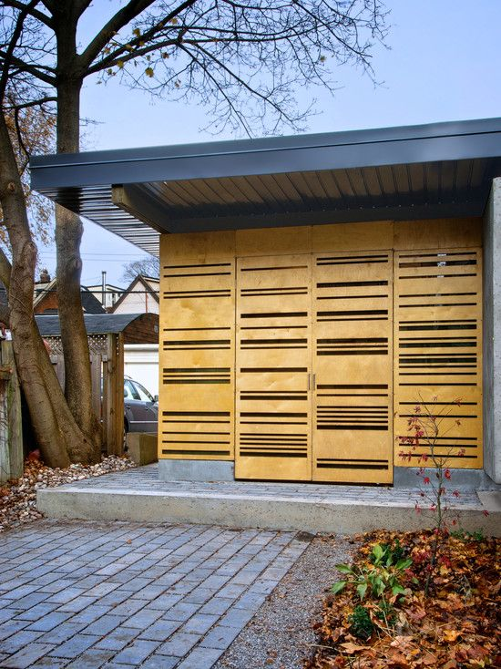 Stylish Auto Garage Design with Illumination Lighting Idea : Awesome Garden Pavilion Eaton Avenue Design With Flat Roof