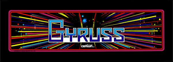 """The marquee for """"Gyruss,"""" a space ship shoot 'em up released by Konami for arcades in 1983."""