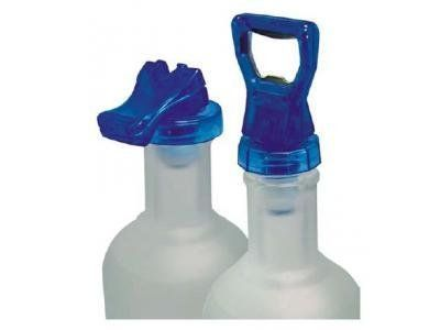 """ABC Products"" - Package of 2 (Blue) ~ Snap Down - For Wine Bottle and Others - Sealer/Stopper (Reusable - Easy On and Easy Off - Quick as a Snap) by EH. $6.77. Lock down lever - Seals with a snap  - Retains freshness and flavor Over and Over. Package of 2 reusable champagne stopper or other bottles - One stopper has a built-in bottle open. No need for stubborn corks - Snap down stopper - Keeps contents fresh. Designed for standard size wine bottles. Made of high quilty plast..."