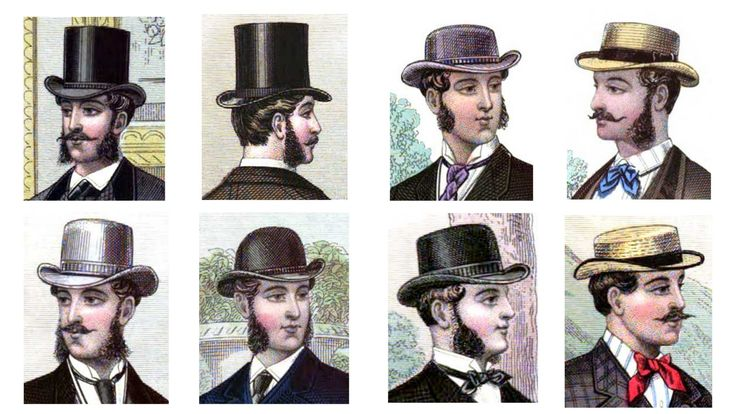 Hats and top hats were very popular back then. The top hat was the most important. They were made of silk. People wore them so often that they even invented a top hat for traveling and a top hat for going to the opera. These could fold down or collapse so that it wouldn't get damaged or bother people sitting behind you at the opera.