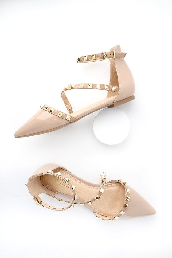 060c54890 Trinity Nude Patent Studded Pointed Toe Flats in 2019   My Shopping Bag    Pointed toe flats, Ankle strap heels, Flats