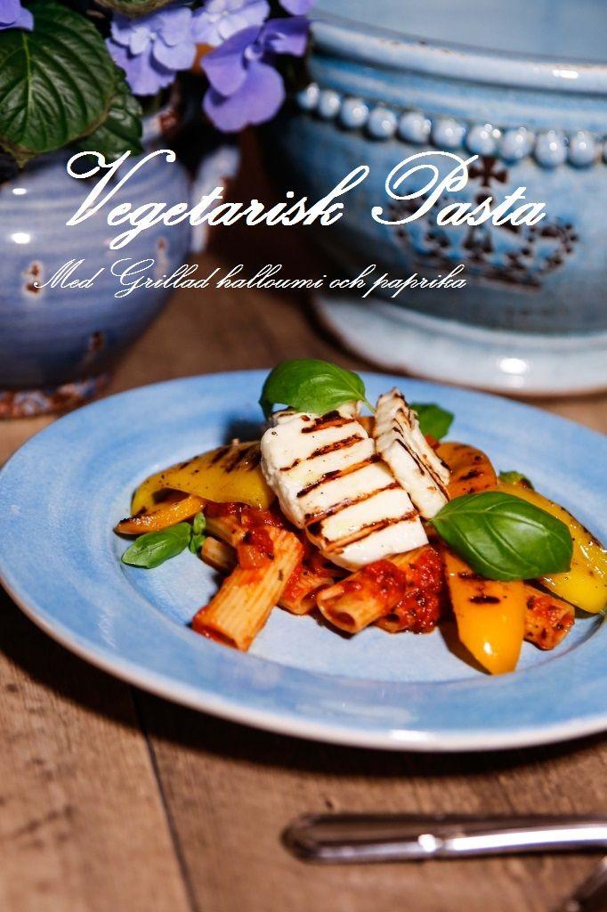 Vegetarisk Pasta med grillad halloumi och paprika #vegetariskt #pasta #halloumi #grilla #mat #recept