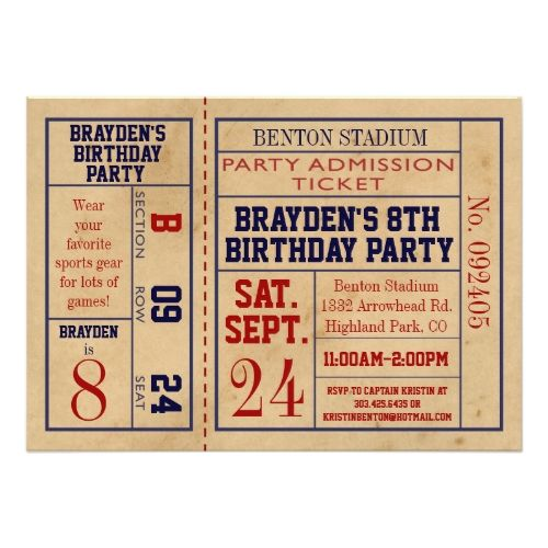 123 best sports birthday invitations images on pinterest birthday sports birthday invitations vintage sports ticket birthday invite hockey stopboris Image collections
