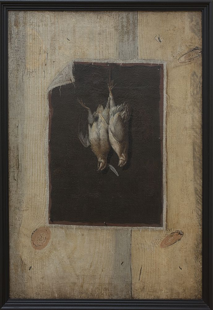 Trompe l'Oeil. Board Partition with a Still Life of Two Dead Birds Hanging on a Wall | Cornelius Norbertus Gijsbrechts | About 1672 | Statens Museum for Kunst | CC0