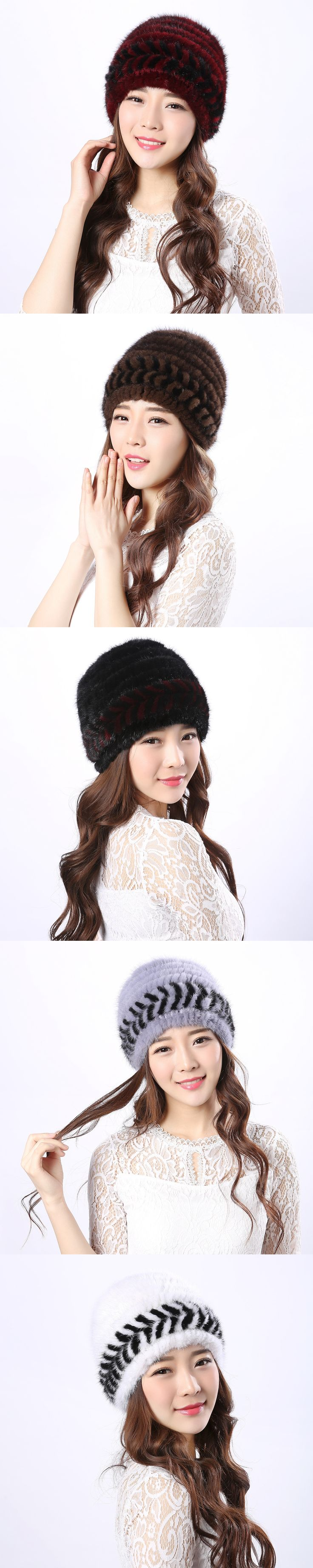 2017 new  winter genuine real Mink Fur  Lady Hat fashion warming thicking ear cap girl friends gift giving