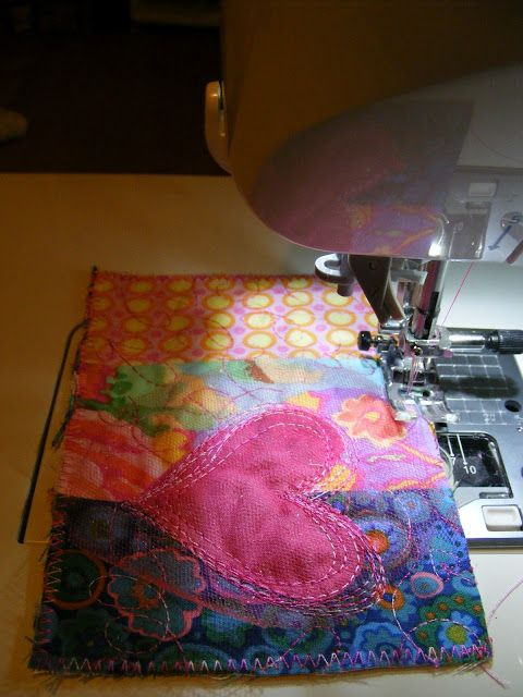 Valentine quilted postcards - scroll down to see her great ideas!