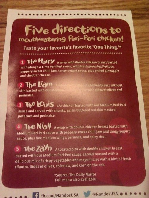 DID I MENTION THAT NANDO'S IS THE BEST  RESTAURANT EVER THEY LITERALLY MADE A MENU DEDICATED TO THE BOYS