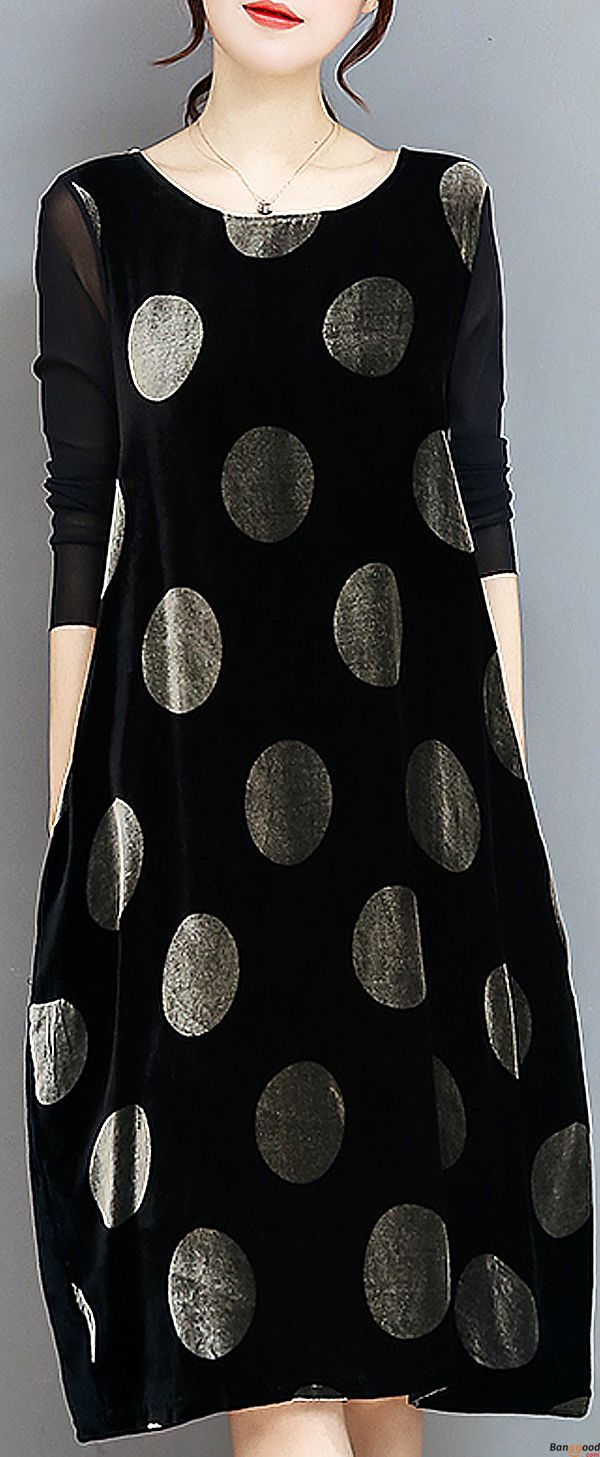 US$30.99+ Free shipping. Size: S~2XL. Color:Black. Loving this elegant dress. Elegant Women Long Sleeve Polka Dot Print Velvet Loose Dresses. Shop at banggood with affordable price.  #women #dress#outwear#2018