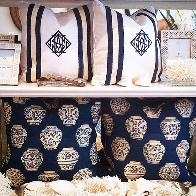 MIX & MATCH the Stuart Membery Pillow Collection for a personal range of expression  NEWPORT MONOGRAM & GINGER JAR avail @cottonlovehome Sydney, Aust.  #shoponline #shipworldwide  #stuartmemberyhome