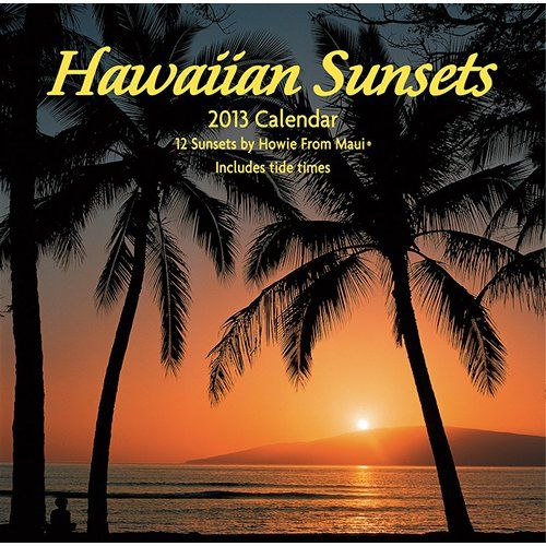 Hawaiian Sunsets Wall Calendar: Golden, tropical sunsets warm your spirit even if you can't be there. Hawaiian sunsets from all the major Hawaiian islands are featured in this 2013 wall calendar. Honolulu, HI tide times and moon phases are included.  http://www.calendars.com/Hawaii/Hawaiian-Sunsets-2013-Wall-Calendar/prod201300019298/?categoryId=cat00860=cat00860#