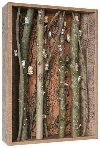 "Shadow box ""forest"" - this would look really cool as a series of stacked boxes too, with the forest continuing - I think I'd have to put a little butterfly in there (maybe tea-stained paper) or a little nest or bird - this one is full of owls"